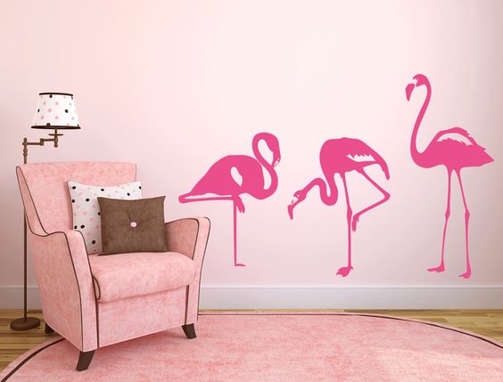 pink flamingo room and wallpaper