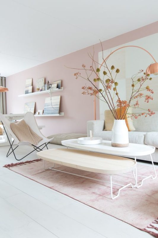 pouder pink living room