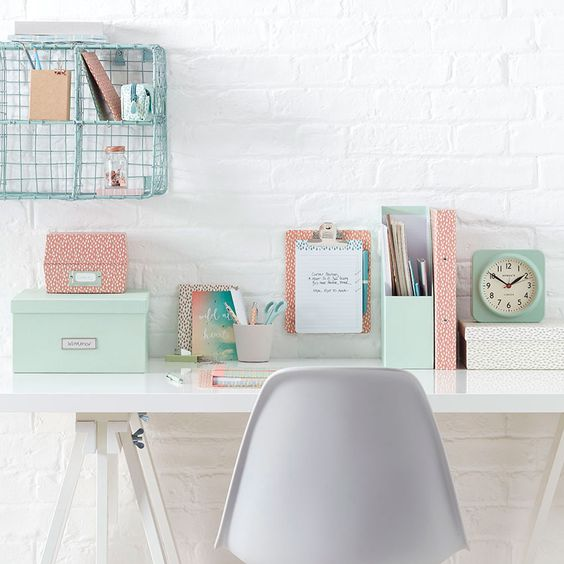pastel study desk