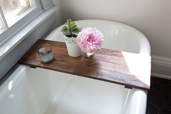 rustic-wood-bathtub-tray-walnut-bath-tub-caddy-wooden-bathtub-shelf-computer-desk-gaming-board-clawfoot-tub-tray-handmade