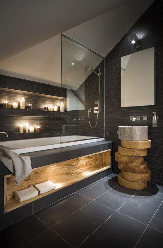 cozy black bathroom