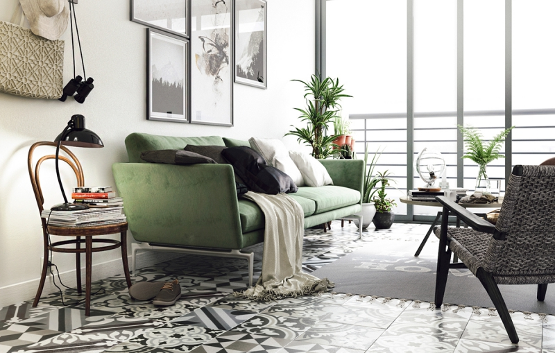 A dreamy green living room