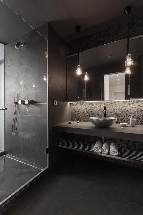 minimal black bathroom