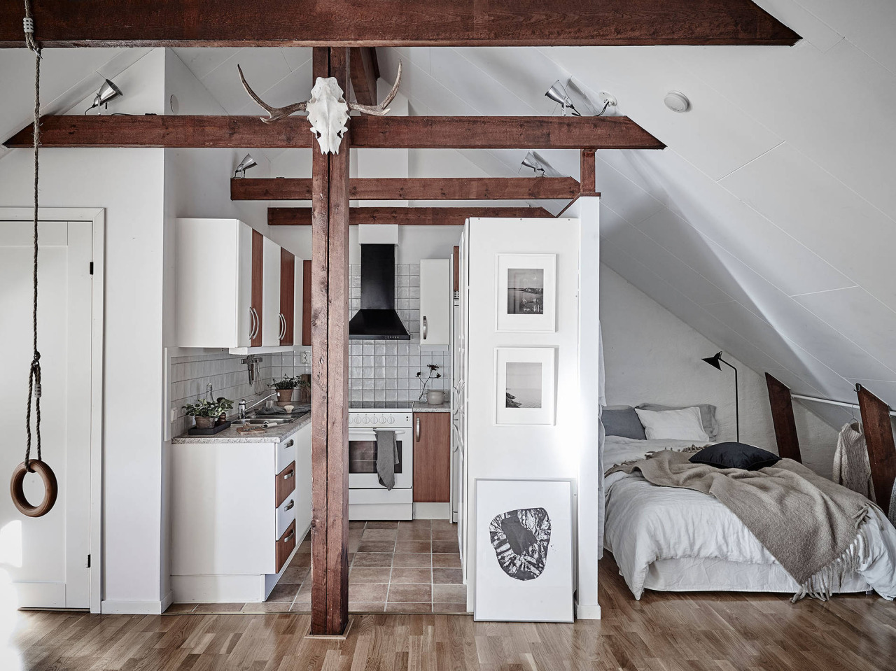 Dreamy Scandinavian attic studio