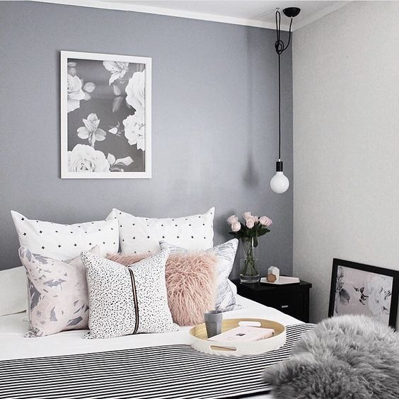 9 gorgeous white grey and pink interiors that make you for Grey and neutral bedroom