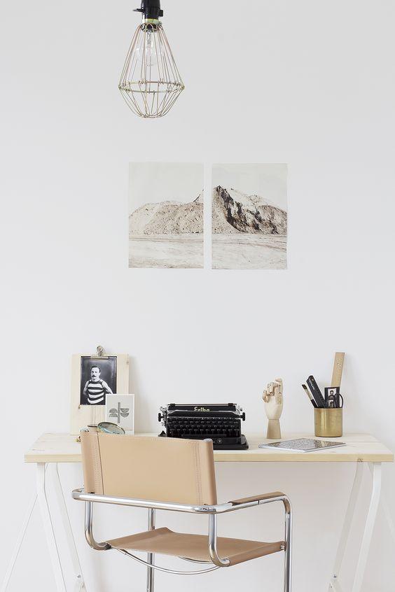 beige workspace