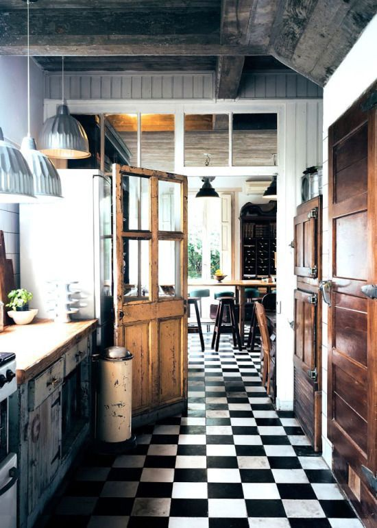 black and white tiles main kitchen