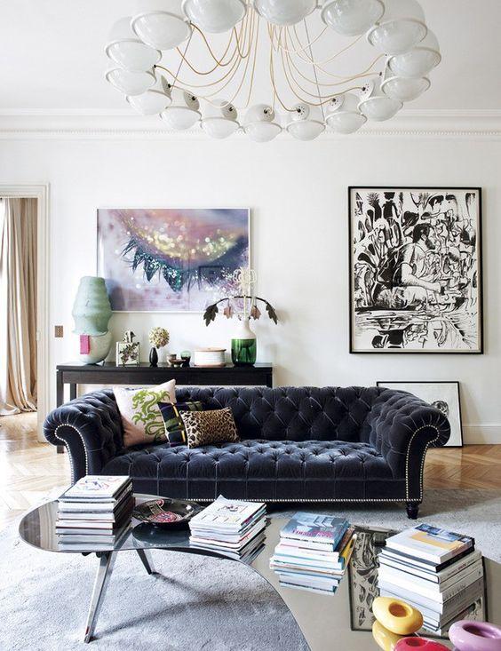electic room velvet sofa