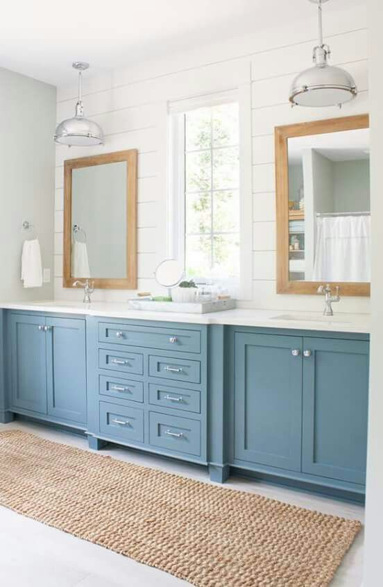 For 2018 Pick The Dreamy Blue Your Bathroom Cabinets It S A Very Relaxing Color That Goes Terrific With White And Brown Also Some Rustic Typical