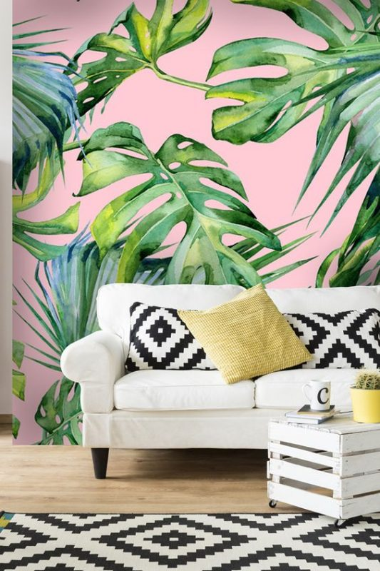 Tree Design Wallpaper Living Room: 6 Dreamy Looks With The Must-have Palm Tree Wallpaper