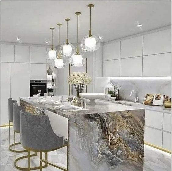 5 Kitchens In Grey White And Gold That Will Blow You Away Daily Dream Decor