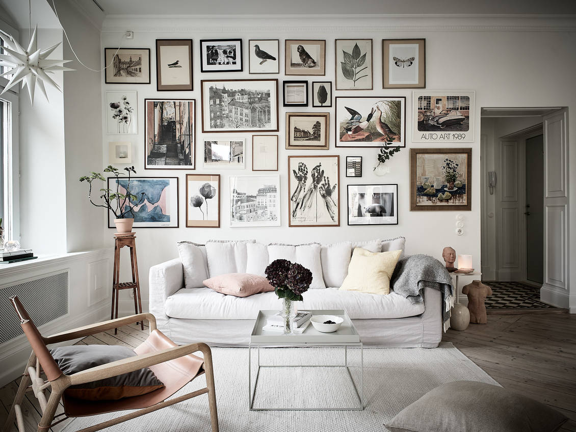 Fab living room with an incredible gallery wall
